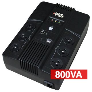 PSS, Alto Series, 800 VA True line interactive UPS, Power filtering (lightning and surge protection), short circuit/overload protection, power management software,