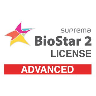 SUPREMA, BioStar 2 Advanced license from V2.6, IP Fingerprint and RFID reader control software, Web Browser based programming, 100 Doors, Cloud access, Lift control, Time & Attendance option,