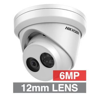 "HIKVISION, 6MP HD-IP Outdoor Turret camera, White, 12.0mm fixed lens, 30m IR, WDR, Day/Night (ICR), 1/2.9"" CMOS, H.265/H.265+, IP67, Tri-axis, 12V DC/PoE"