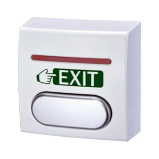 "GEM, Surface exit button with indication, Wall mounted, Labelled ""Exit"", White body with silver button, Dual colour LED with setup options, Built-in timer, N/O and N/C contacts,"