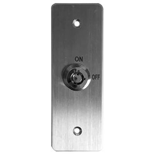 """ULTRA ACCESS, Keyswitch plate, Wall, Architrave, Stainless steel, Labelled """"On/Off"""", With circular key, Plate 40mm x 115mm, N/O and N/C contacts,"""