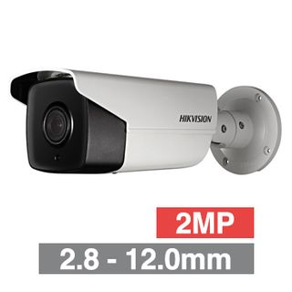 "HIKVISION, 2MP HD-IP DARKFIGHTER Bullet camera, White, 2.8-12.0mm zoom lens, 50m IR, 50fps, WDR, Day/Night (ICR), 1/1.8"" CMOS, H.265/H.265+, IP67, 12V DC/PoE"