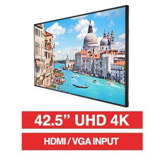 "HIKVISION, 43"" D-LED 16:9 Colour Monitor (Black), UHD 4K 3840x2160 resolution, 8ms response, 1200:1 contrast ratio, HDMI/VGA, LAN port, RS-232, Built-in speaker, 200x200 VESA mount only,"