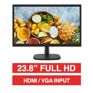 "HIKVISION, 23.8"" LED 16:9 Colour Monitor (Black), Full HD 1920x1080 resolution, 14ms response, 1000:1 contrast ratio, HDMI/VGA input, 100x100 VESA mount, Includes Desk stand, 24/7 operation,"