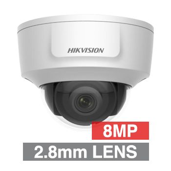 "HIKVISION, 8MP HD-IP Outdoor Vandal Dome camera, White, 2.8mm fixed lens, 30m IR, WDR, Day/Night (ICR), 1/2.5"" CMOS, H.265/H.265+, IP42, IK10, Tri-axis, 12V DC/PoE, HDMI OUT"