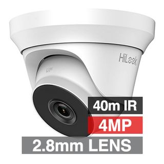 HILOOK, 4MP Analogue HD Outdoor Turret camera, White, 2.8mm fixed lens, 40m IR, TVI/AHD/CVI/CVBS, DWDR, Day/Night (ICR), IP66, Tri-axis, 12V DC, 4W