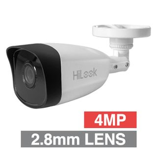 "HILOOK, 4MP HD-IP Outdoor Mini Bullet camera, White, 2.8mm fixed lens, 30m IR, 120dB WDR, Day/Night (ICR), 1/3"" CMOS, H.265/H.265+, IP67, Tri-axis, 12V DC/PoE"