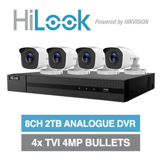 HILOOK, 8 channel HD-TVI 4MP bullet kit, Includes 1x DVR-208U-F1-2T 8ch Analogue HD DVR, 4x 4MP TVI IR bullet cameras w/ 2.8mm fixed lens & 12V DC PSU