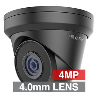 "HILOOK, 4MP HD-IP Outdoor Turret camera, Metal, Black, 4.0mm fixed lens, 30m IR, 120dB WDR, Day/Night (ICR), 1/3"" CMOS, H.265/H.265+, IP67, Tri-axis, 12V DC/PoE"