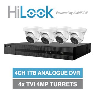 HILOOK, 4 channel HD-TVI 4MP turret kit, Includes 1x DVR-204U-F1-1T 4ch Analogue HD DVR, 4x 4MP TVI IR turret cameras w/ 2.8mm fixed lens & 12V DC PSU