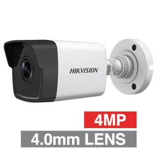 "HIKVISION, 4MP HD-IP Outdoor Mini Bullet camera, White, 4.0mm fixed lens, 30m IR, DWDR, Day/Night (ICR), 1/3"" CMOS, H.265/H.265+, IP67, Tri-axis, 12V DC/PoE"