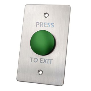 "ULTRA ACCESS, Switch plate, Wall, Labelled ""Press to Exit"", Stainless steel, With green push button, N/O and N/C contacts,"