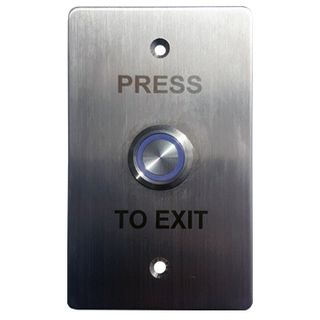 """ULTRA ACCESS, Switch plate, Wall, Stainless steel, Labelled """"Press to Exit"""", With stainless steel illuminated blue 22mm push button, Plate 35mm x 90mm, N/O,N/C contacts, 12V DC,"""