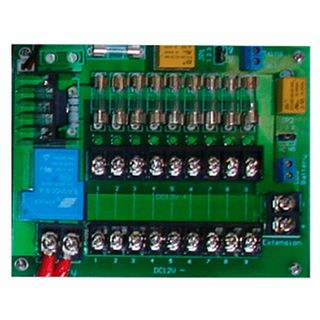 PSS, Fused Power distribution board, 10 -16V DC input and 9x M205 1 Amp fused outputs, screw terminals,