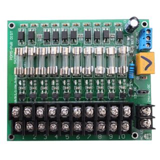 PSS, Monitored Fused Power distribution board, 12VDC or 24V AC/DC input and 10x M205 1 Amp fused outputs, screw terminals,