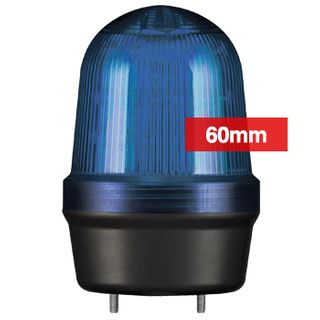 QLIGHT, MFL Series LED signal light, 60mm, BLUE colour, Four modes (Steady/Flashing/Strobing/Simulated Revolving), IP65, Built-in 80dB Max sounder, 3 bolt mounting, Optional mounts,