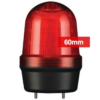 QLIGHT, MFL Series LED signal light, 60mm, RED colour, Four modes (Steady/Flashing/Strobing/Simulated Revolving), IP65, Built-in 80dB Max sounder, 3 bolt mounting, Optional mounts,