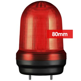 QLIGHT, MFL Series LED signal light, 80mm, RED colour, Four modes (Steady/Flashing/Strobing/Simulated Revolving), IP65, Built-in 80dB Max sounder, 3 bolt mounting, Optional mounts,