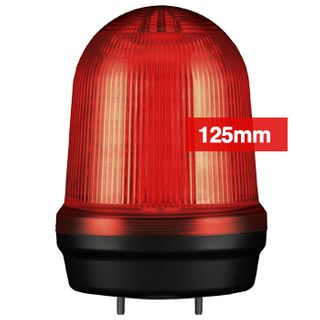 QLIGHT, MFL Series LED signal light, 125mm, RED colour, Four modes (Steady/Flashing/Strobing/Simulated Revolving), IP65, Built-in 80dB Max sounder, 3 bolt mounting, Optional mounts,