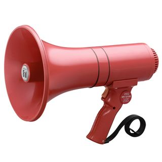 TOA Power megaphone, 15 Watt rated, Built-in siren, requires 6x AA batteries,
