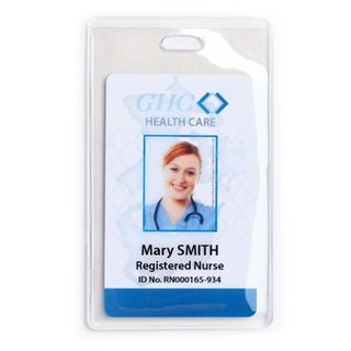 NETDIGITAL, Card holder, Flexible, Single sleeve, Clear, Portrait, Heavy duty,106 (H) x 66 (W),  Ideal for single or back to back proximity/photo ID/smart cards