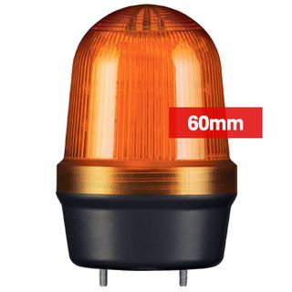 QLIGHT, MFL Series LED signal light, 60mm, AMBER colour, Four modes (Steady/Flashing/Strobing/Simulated Revolving), IP65, Built-in 80dB Max sounder, 3 bolt mounting, Optional mounts,