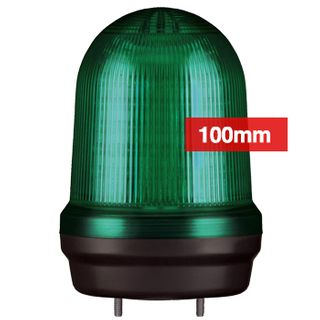 QLIGHT, MFL Series LED signal light, 100mm, GREEN colour, Four modes (Steady/Flashing/Strobing/Simulated Revolving), IP65, Built-in 80dB Max sounder, 3 bolt mounting, Optional mounts,