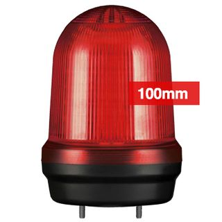 QLIGHT, MFL Series LED signal light, 100mm, RED colour, Four modes (Steady/Flashing/Strobing/Simulated Revolving), IP65, Built-in 80dB Max sounder, 3 bolt mounting, Optional mounts,