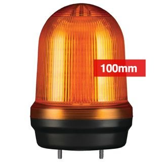 QLIGHT, MFL Series LED signal light, 100mm, AMBER colour, Four modes (Steady/Flashing/Strobing/Simulated Revolving), IP65, Built-in 80dB Max sounder, 3 bolt mounting, Optional mounts,