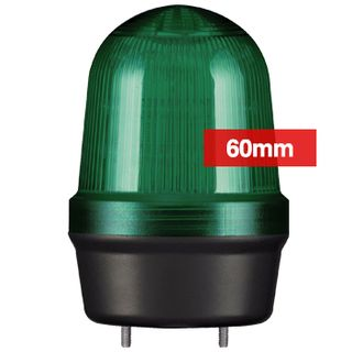 QLIGHT, MFL Series LED signal light, 60mm, GREEN colour, Four modes (Steady/Flashing/Strobing/Simulated Revolving), IP65, Built-in 80dB Max sounder, 3 bolt mounting, Optional mounts,