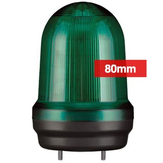 QLIGHT, MFL Series LED signal light, 80mm, GREEN colour, Four modes (Steady/Flashing/Strobing/Simulated Revolving), IP65, Built-in 80dB Max sounder, 3 bolt mounting, Optional mounts,