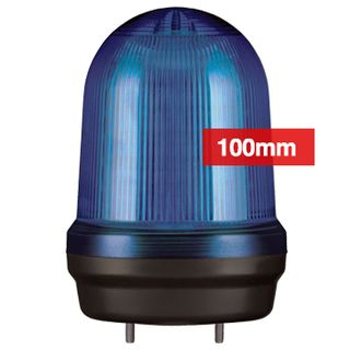 QLIGHT, MFL Series LED signal light, 100mm, BLUE colour, Four modes (Steady/Flashing/Strobing/Simulated Revolving), IP65, Built-in 80dB Max sounder, 3 bolt mounting, Optional mounts,