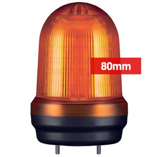QLIGHT, MFL Series LED signal light, 80mm, AMBER colour, Four modes (Steady/Flashing/Strobing/Simulated Revolving), IP65, Built-in 80dB Max sounder, 3 bolt mounting, Optional mounts,