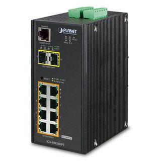 PLANET, 8 Port Managed Industrial switch, 30 Watt ports, 2 Gigabit SFP, IP30 case, DIN rail mount,