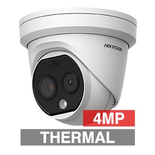 """HIKVISION, 4MP Thermal & Optical Fusion Outdoor Turret camera, White, 2.0mm fixed lens (optical), 1.8mm fixed lens (thermal), IR, WDR, Day/Night (ICR), 1/2.7"""" CMOS, H.265 & H.265+, IP67, 12V DC/PoE"""