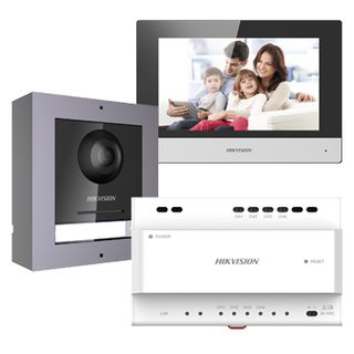 """HIKVISION, Intercom, Gen 2, Two wire intercom kit, includes 1 x DS-KD8003-IME2 surface door station, 1 x DS-KH6320-WTE2 7"""" room station, 1 x KAD704-P, WiFi, Black, AU adapter,"""