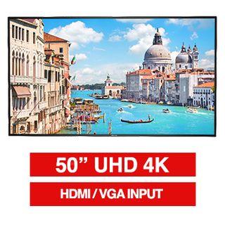 "HIKVISION, 50"" D-LED 16:9 Colour Monitor (Black), UHD 4K 3840x2160 resolution, 8ms response, 1200:1 contrast ratio, HDMI/VGA, LAN port, RS-232, Built-in speaker, 200x200 VESA mount only,"