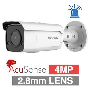 "HIKVISION, 4MP AcuSense G2 HD-IP Outdoor Bullet camera, DarkFighter, White, 2.8mm fixed lens, 60m IR, 120dB WDR, Day/Night (ICR), 1/2.7"" CMOS, H.265 & H.265+, IP66, Strobe, Microphone and Built-in spe"