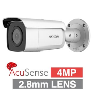 "HIKVISION, 4MP AcuSense G2 HD-IP Outdoor Bullet camera, DarkFighter, White, 2.8mm fixed lens, 60m IR, 120dB WDR, Day/Night (ICR), 1/2.7"" CMOS, H.265 & H.265+, IP67, 12V DC/PoE"