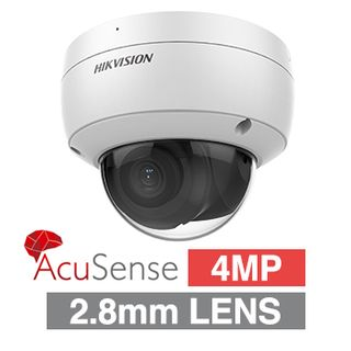 """HIKVISION, 4MP AcuSense G2 HD-IP Outdoor Vandal Dome camera,  DarkFighter, White, 2.8mm fixed lens, 30m IR, 120dB WDR, Day/Night (ICR), 1/2.7"""" CMOS, H.265/H.265+, IP67, IK10, Tri-axis, 12V DC/PoE"""