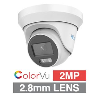 HILOOK, 2MP ColorVu Analogue HD Outdoor Turret camera, White, 2.8mm fixed lens, 40m White LED, TVI/AHD/CVI/CVBS, DWDR, Day/Night (ICR), IP67, Tri-axis, 12V DC, 2.4W