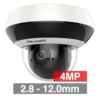 "HIKVISION, 4MP HD-IP Mini Outdoor PTZ camera, 4X Zoom, 2.8-12.0mm lens, 20m IR,  WDR, Day/Night (ICR), 1/3"" CMOS, H.265, IP66, 12V DC/PoE,"