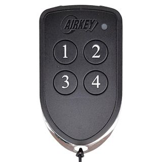 AIRKEY, Transmitter, Key fob, Four channel, Maximum security, 64 bit rolling key encription, IP65 rated, Chrome plated die cast case,