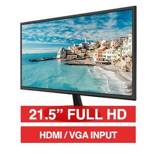 "HIKVISION, 21.5"" LED 16:9 Colour Monitor (Black), Full HD 1920x1080 resolution, 5ms response, 1000:1 contrast ratio, HDMI/VGA input, 100x100 VESA mount, Includes Desk stand"