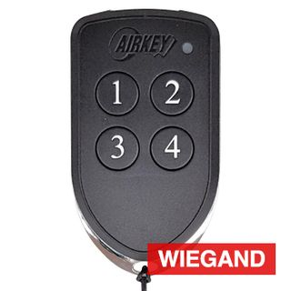 AIRKEY, Transmitter, Key fob, Four channel, 26 bit Wiegand, Maximum security, 64 bit rolling key encription, IP65 rated, Chrome plated die cast case,