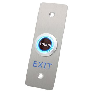"""ULTRA ACCESS, Architrave """"Touch to Exit"""" Sensor Plate, Stainless Steel, Piezo Electric, Plate 40mm x 115mm, Sensor 25mm Diameter, N/O and N/C contacts, 12V DC,"""