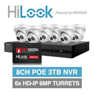 HILOOK, September Gift Card Promo, 8ch 6 camera 6MP kit, Includes 1x NVR-108MH-C/8P-3T 8ch 3TB NVR and 6x IPC-T260H-M-2.8 2.8mm 6MP HD-IP turret cameras