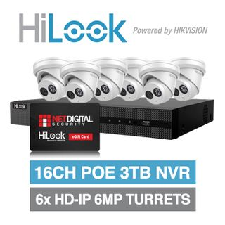 HILOOK, September Gift Card Promo, 16ch 6 camera 6MP kit, Includes 1x NVR-216MH-C/16P-3T 16ch 3TB NVR and 6x IPC-T260H-M-2.8 2.8mm 6MP HD-IP turret cameras