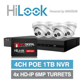 HILOOK, September Gift Card Promo, 4ch 4 camera 6MP kit, Includes 1x NVR-104MH-C/4P-1T 4ch 1TB NVR and 4x IPC-T260H-M-2.8 2.8mm 6MP HD-IP turret cameras