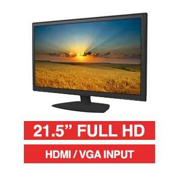 "HIKVISION, 21.5"" LED 16:9 Colour Monitor (Black), Full HD 1920x1080 resolution, 5ms response, 1000:1 contrast ratio, HDMI/VGA input, 100x100 VESA mount, Includes Desk stand"
